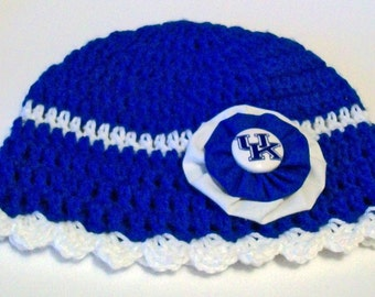 Kentucky Wildcats Inspired Blue and White Hand Crocheted Baby and Childrens Scalloped Edge Hat Great Photo Prop 5 Sizes Available