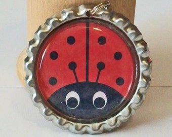 So Cute Red and Black Ladybug Flattened Bottlecap Pendant Necklace