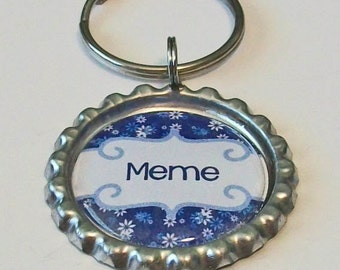 Blue and White Daisy Meme Grandmother Metal Flattened Bottlecap Keychain Great Gift