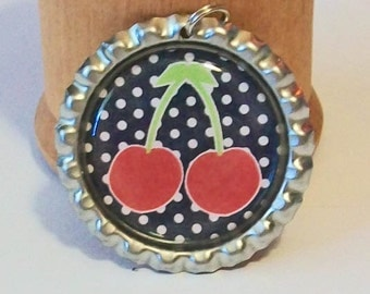 Retro Cool Black and White Polka Dots with Bright Red Cherries Flattened Bottlecap Pendant Necklace