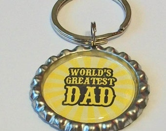 Bright Yellow Worlds Greatest Dad Father Metal Flattened Bottlecap Keychain Great Gift
