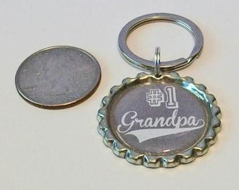 Gray Number 1 Grandpa Grandfather Metal Flattened Bottlecap Keychain Great Gift