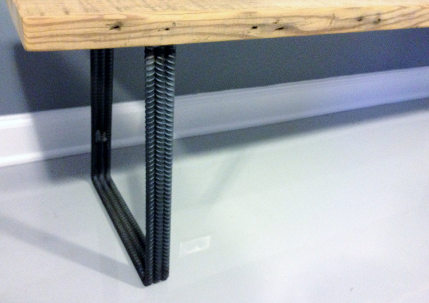 Superb img of Steel Leg Bench Reclaimed Wood Bench DIning Bench by DendroCo with #A1722A color and 1500x1062 pixels