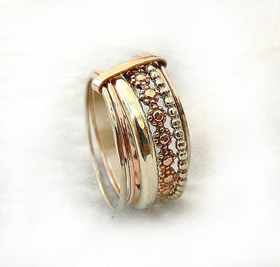 delicate wedding band silver and gold wedding ring