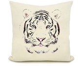 White tiger head print design cover pillow .decorative accent pillow 16x16