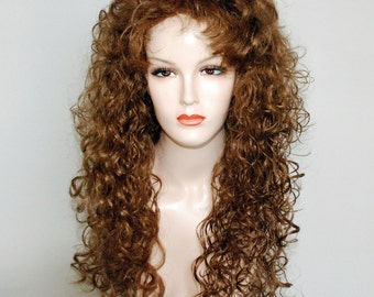 Honey blonde long curly wig