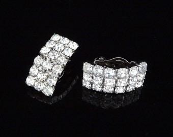 1960s Rhinestone Clipback Earrings