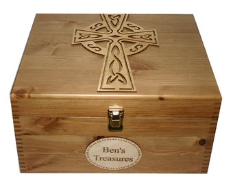 Personalised Rustic Pine Large Wooden Keepsake or Memory Storage Box - Celtic Cross
