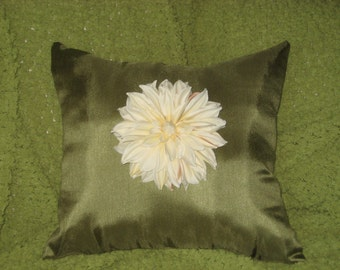 Ivory Dahlia Flower Pillow (Free Shipping)