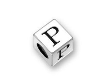 1 Silver Block Alphabet Letter Beads 5.5mm Initial P Charm Pendant by TIJC SP55P