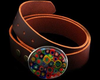 Glass Belt Buckle, Millefiori Glass Belt Buckle, Belt Buckle, Millefiori Glass