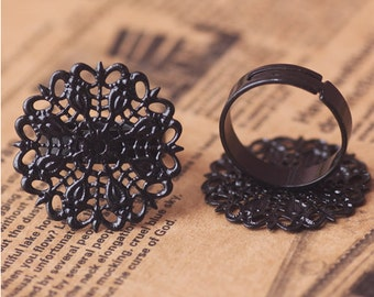 10pc  black adjustable Filigree Ring with pad