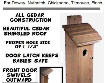 Ark Workshop Cedar Downy Woodpecker House Shelter Box also Chickadee, Nuthatch, Titmouse, Finches