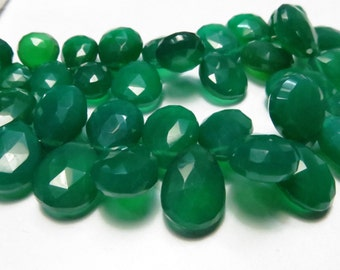 36 Piece Lot Top Quality Green Onix Chalcedony Pears Shape Briolett Size 11X15 mm To 10X13  9X11 mm Approx