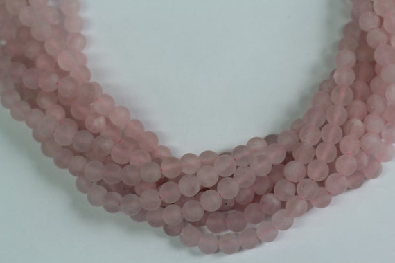 "Rose Quartz Matt Finish 8mm smooth round beads 16"" length full strand"