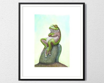 Frog prince Archival watercolor print