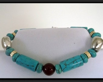 """Genuine Dyed Turquoise Howlite Carnelian Gold and Silver Bracelet 8"""" One of a kind"""