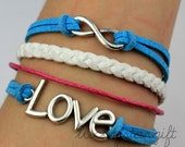 Infinite love infinite & red rope white cotton rope bracelet with blue cotton rope woven fashion bracelet charm bracelet-Q195