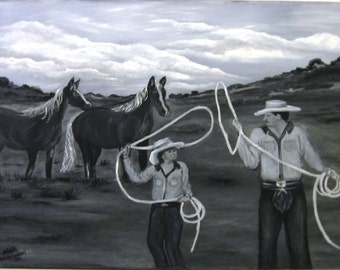 Cowboy Way an Original Oil on canvas 24x18x1 in Black and White