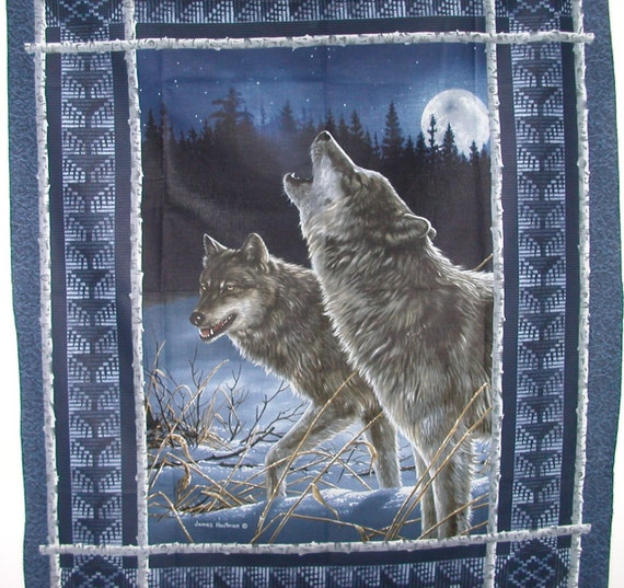 Howling Wolf Fabric Panel Artist James Hautman Fabric By