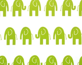 SHIPS SAME DAY Chartreuse  Elephant Fabric, Premier Prints Ele White and Green Fabric, Animal Print Home Decot Fabric by the 1/2 yard