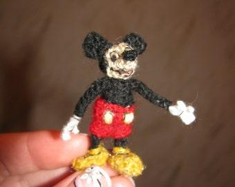 Miniature amigurumi mickey mouse, crochet mickey mouse, handmade mickey mouse