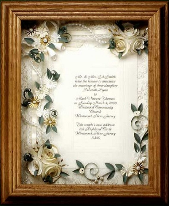 Wedding Invitation Gifts Ideas: Framed Wedding Invitation. Wedding Gift Framed Ivory Wedding