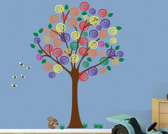 Swirl Tree Wall Decal PEEL and STICK REUSABLE