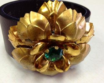 Vintage Gold Pin Leather Cuff Bracelet