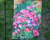 Garden Flag, Small Size, Pink Rose Shrub, Lawn, Yard, Porch, Sunroom, Outdoor Art