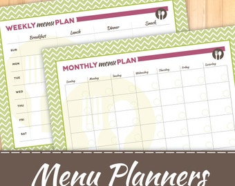 Menu Planners, Weekly AND Monthly, Instant Download