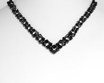 Swarovski Crystal Jet Black V Necklace Sterling silver