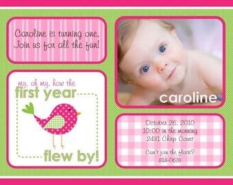 Sweet Tweet Birdie First Birthday First Year Bird - Pink & Green - Printable Customized Invitation