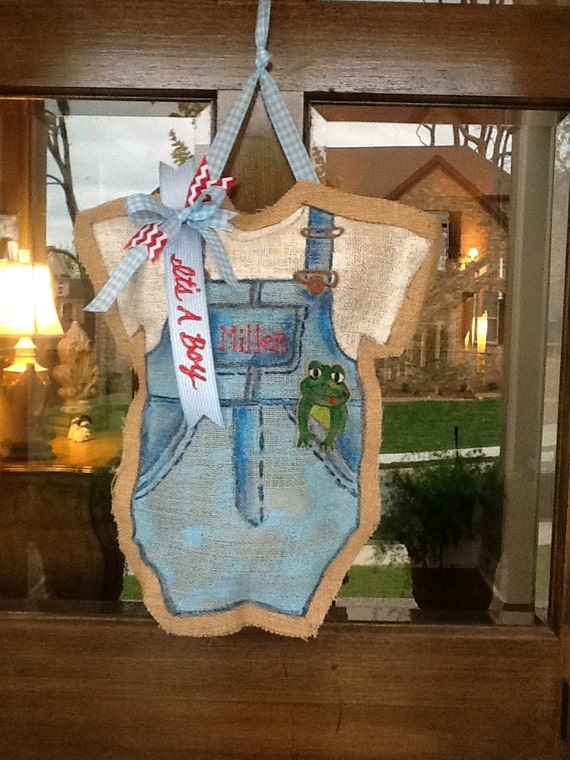 Baby Boy Burlap Door Hanger