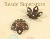 18 mm x 8 mm Antique Copper Bendable Flower Bead Cap - Nickel Free and Lead Free - 20 pcs