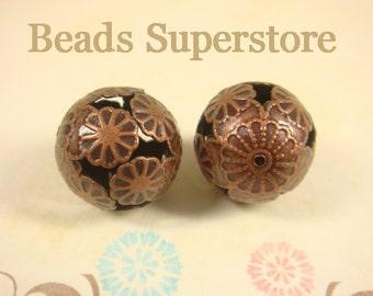 16 mm Antique Copper Filigree Round Bead - Nickel Free - 10 pcs