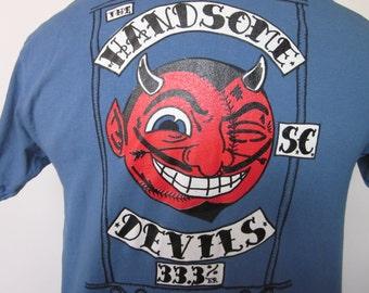 HANDSOME DEVILS Baseball Team-Tee Shirt Blue Grey Uniform Look Front & Back Satan Beer Devil Earned Run Average