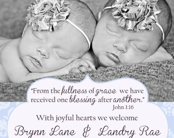 Vintage Damask Twin Birth Announcement