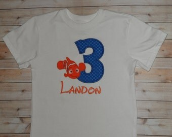Nemo Birthday Shirt Infant Baby Toddler Boys Custom Applique 12 month 2T 3T 4T 5T