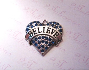 Believe Blue Crystal Heart Pendant Antique Silver Affirmation Word Charm