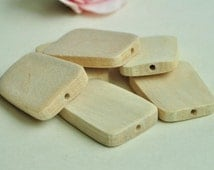 10pcs Unfinished Natural Wood Beads Trapezoid Shaped Beads - No Varnish & No Lacquer 40x7mm MT295