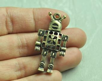 2pcs Antique Bronze 3D Robot Charms Robot 42x22mm K134
