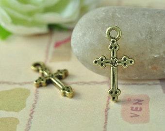 30pcs Antique Bronze Filigree Small Cross Charms 21x11mm K008