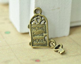 Wonderful 12pcs Antique Bronze Sweet Home Door And Key Charms Security Door Charms  Letter Charm 24x9mm MM694