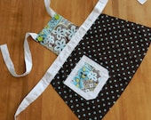 Toddler Apron:Brown, gray and blue pattern w/ white accents