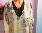 V Neck With Lace Chiffon Caftan ,Beach Tunic, Swimsuit Cover Up ,Swimwear Shawl ,Turkish Caftan,Pareo