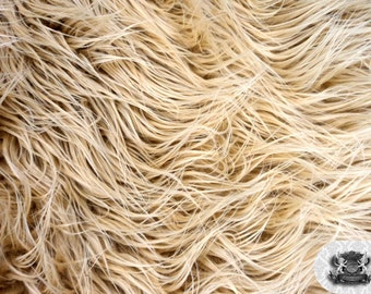 """Faux Fur Long Pile Mongolian Camel Fabric / 60"""" Wide / Sold by the yard"""