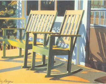 tranquility porch rocker print country porch rocker art print - Porch Rocker