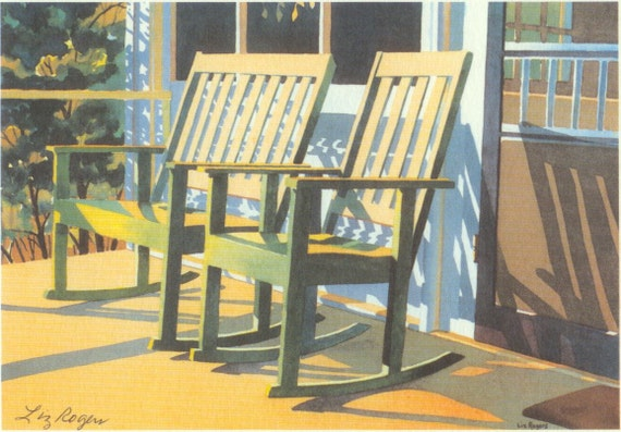 Tranquility porch rocker print country porch rocker art for Country porch coupon code