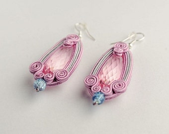 pink candy -soutache earrings